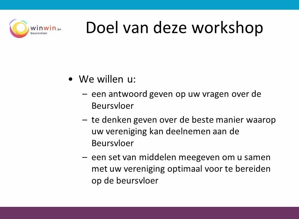 Doel van deze workshop We willen u: