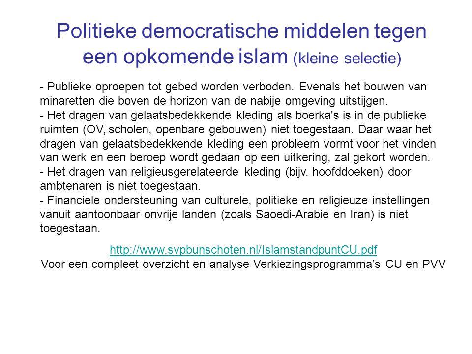 Politieke democratische middelen tegen een opkomende islam (kleine selectie)