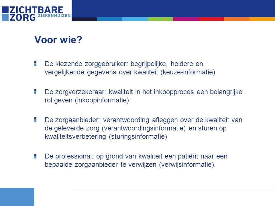 Voor wie De kiezende zorggebruiker: begrijpelijke, heldere en vergelijkende gegevens over kwaliteit (keuze-informatie)