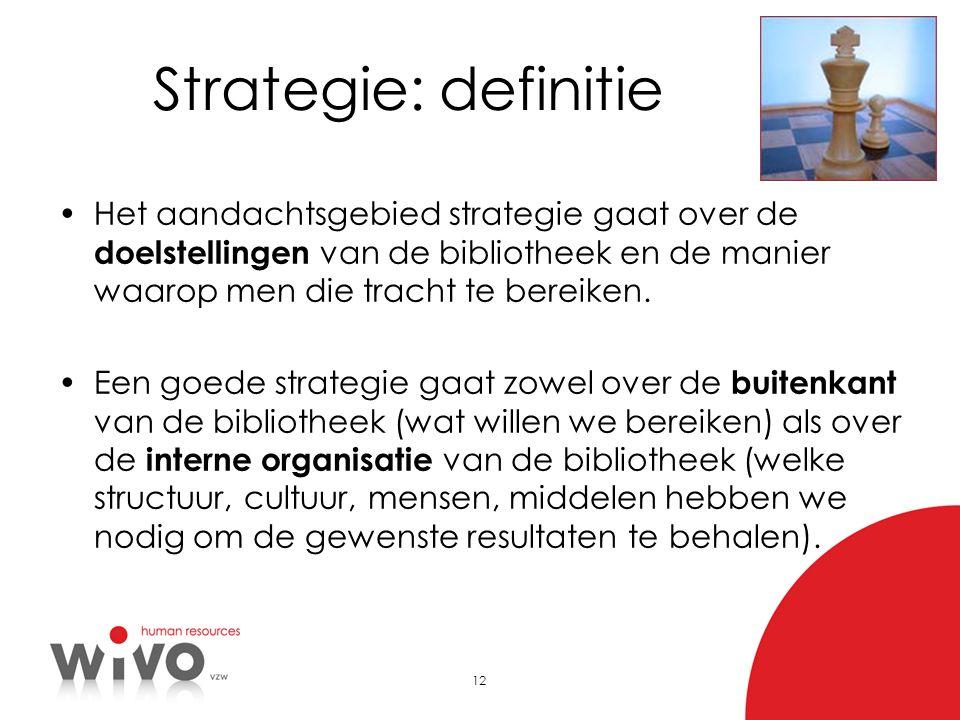 Strategie: definitie Het aandachtsgebied strategie gaat over de doelstellingen van de bibliotheek en de manier waarop men die tracht te bereiken.