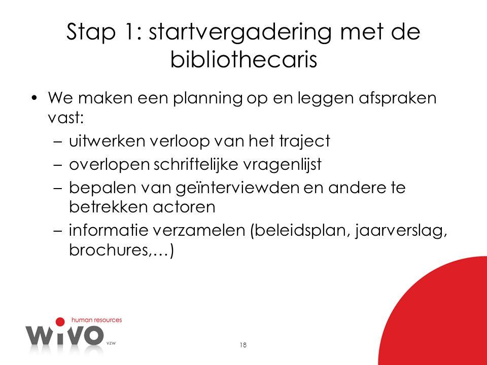 Stap 1: startvergadering met de bibliothecaris