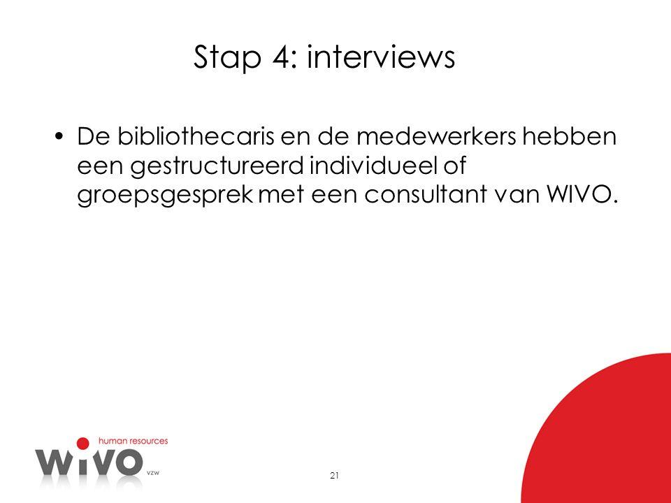 Stap 4: interviews De bibliothecaris en de medewerkers hebben een gestructureerd individueel of groepsgesprek met een consultant van WIVO.