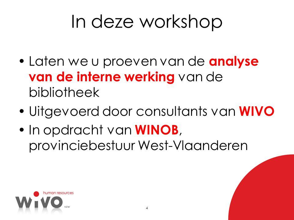 In deze workshop Laten we u proeven van de analyse van de interne werking van de bibliotheek. Uitgevoerd door consultants van WIVO.