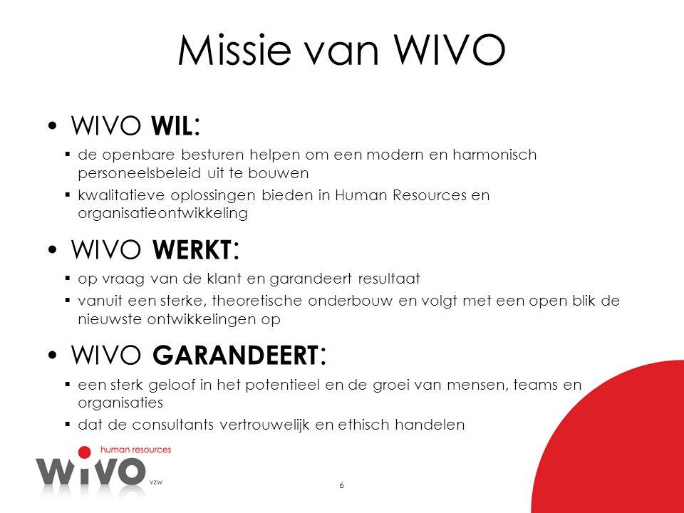 Missie van WIVO WIVO WIL: WIVO WERKT: WIVO GARANDEERT: