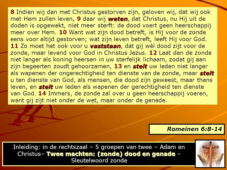 8 Indien wij dan met Christus gestorven zijn, geloven wij, dat wij ook met Hem zullen leven, 9 daar wij weten, dat Christus, nu Hij uit de doden is opgewekt, niet meer sterft: de dood voert geen heerschappij meer over Hem. 10 Want wat zijn dood betreft, is Hij voor de zonde eens voor altijd gestorven; wat zijn leven betreft, leeft Hij voor God. 11 Zo moet het ook voor u vaststaan, dat gij wèl dood zijt voor de zonde, maar levend voor God in Christus Jezus. 12 Laat dan de zonde niet langer als koning heersen in uw sterfelijk lichaam, zodat gij aan zijn begeerten zoudt gehoorzamen, 13 en stelt uw leden niet langer als wapenen der ongerechtigheid ten dienste van de zonde, maar stelt u ten dienste van God, als mensen, die dood zijn geweest, maar thans leven, en stelt uw leden als wapenen der gerechtigheid ten dienste van God. 14 Immers, de zonde zal over u geen heerschappij voeren, want gij zijt niet onder de wet, maar onder de genade.