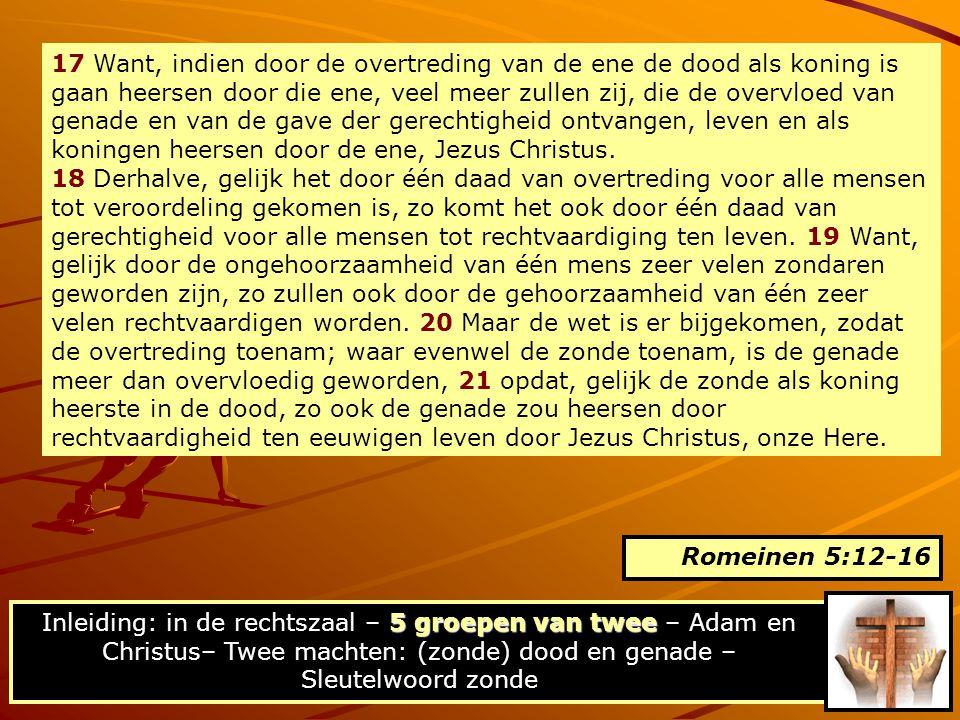 17 Want, indien door de overtreding van de ene de dood als koning is gaan heersen door die ene, veel meer zullen zij, die de overvloed van genade en van de gave der gerechtigheid ontvangen, leven en als koningen heersen door de ene, Jezus Christus.