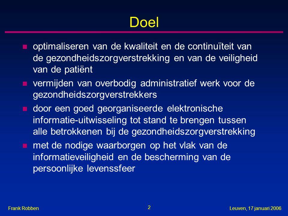 Doel optimaliseren van de kwaliteit en de continuïteit van de gezondheidszorgverstrekking en van de veiligheid van de patiënt.