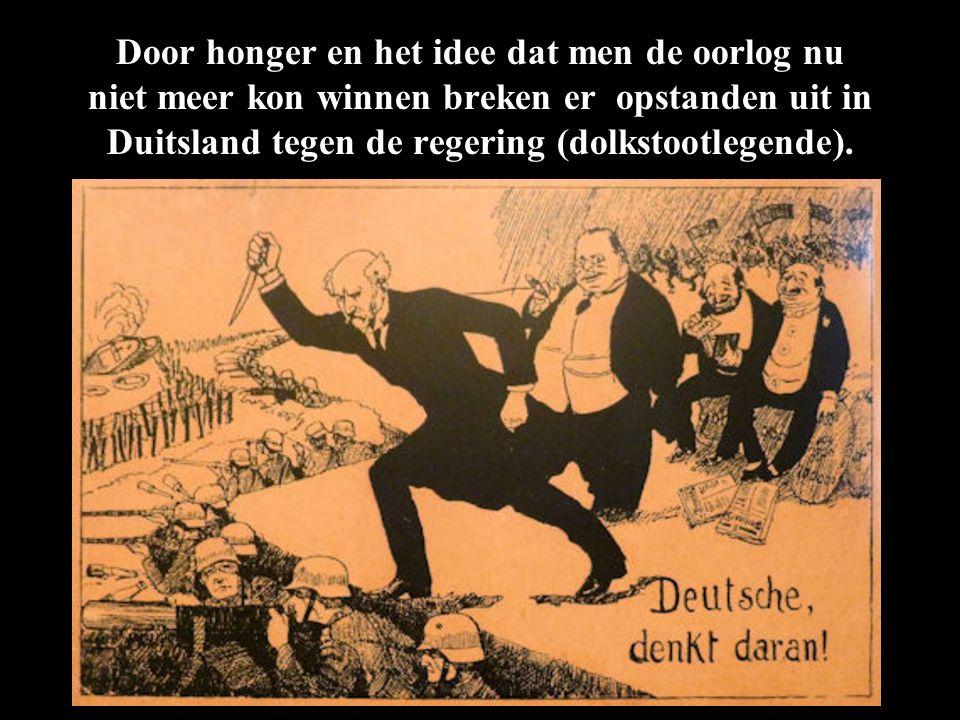 Door honger en het idee dat men de oorlog nu niet meer kon winnen breken er opstanden uit in Duitsland tegen de regering (dolkstootlegende).