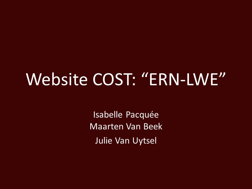 Website COST: ERN-LWE