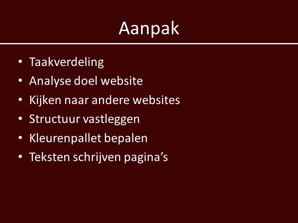 Aanpak Taakverdeling Analyse doel website Kijken naar andere websites