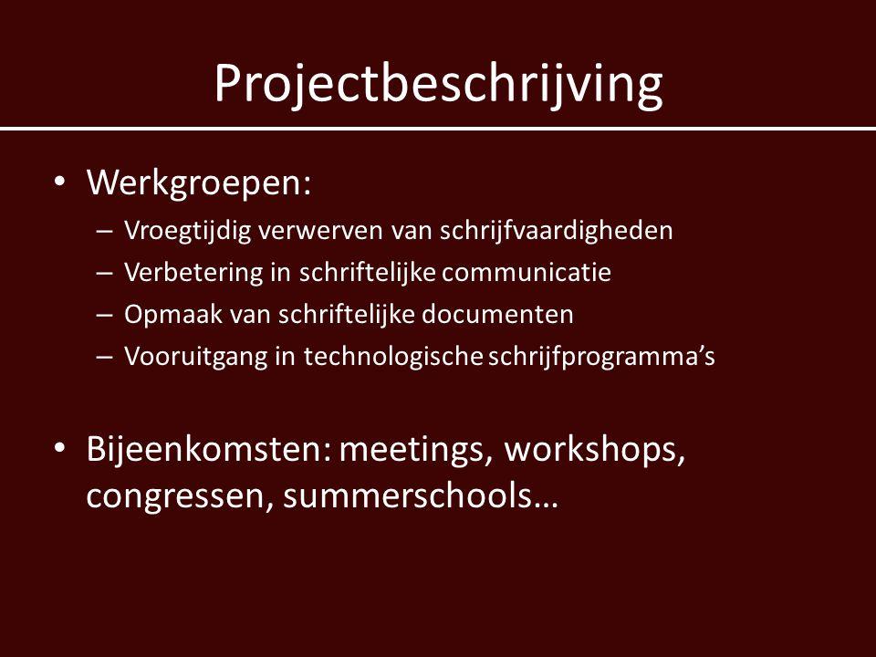 Projectbeschrijving Werkgroepen: