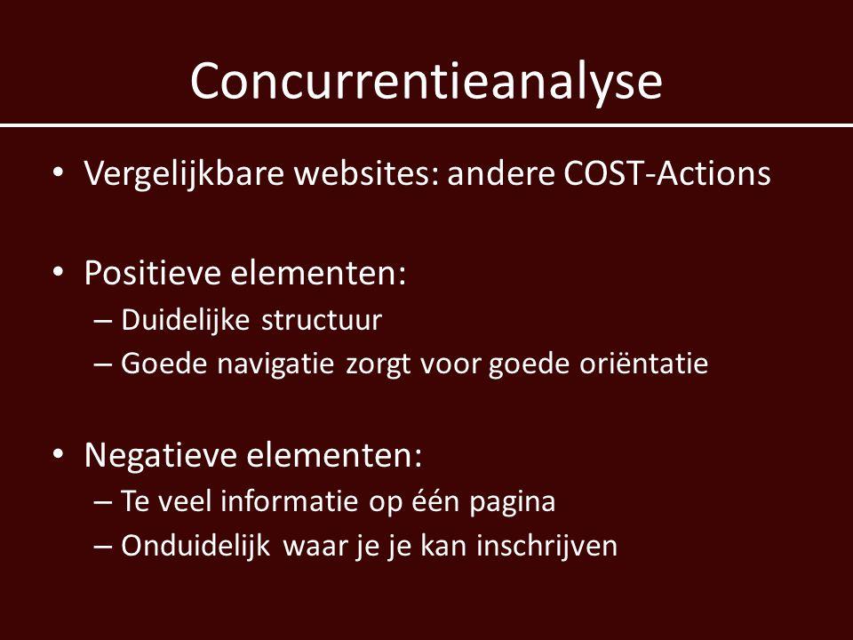 Concurrentieanalyse Vergelijkbare websites: andere COST-Actions
