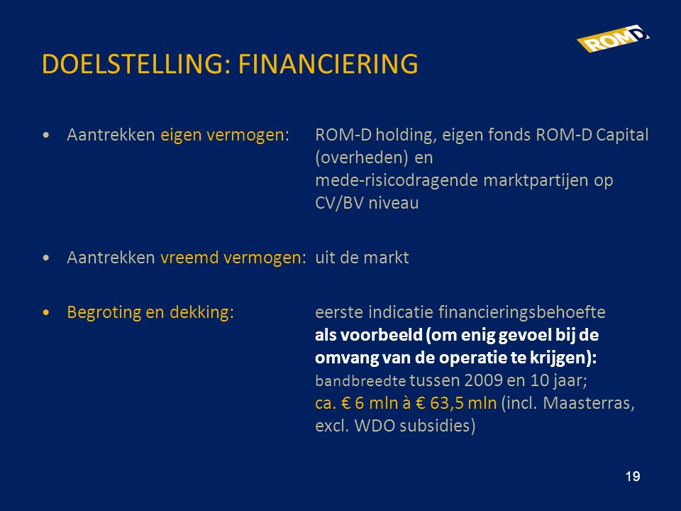 Doelstelling: Financiering