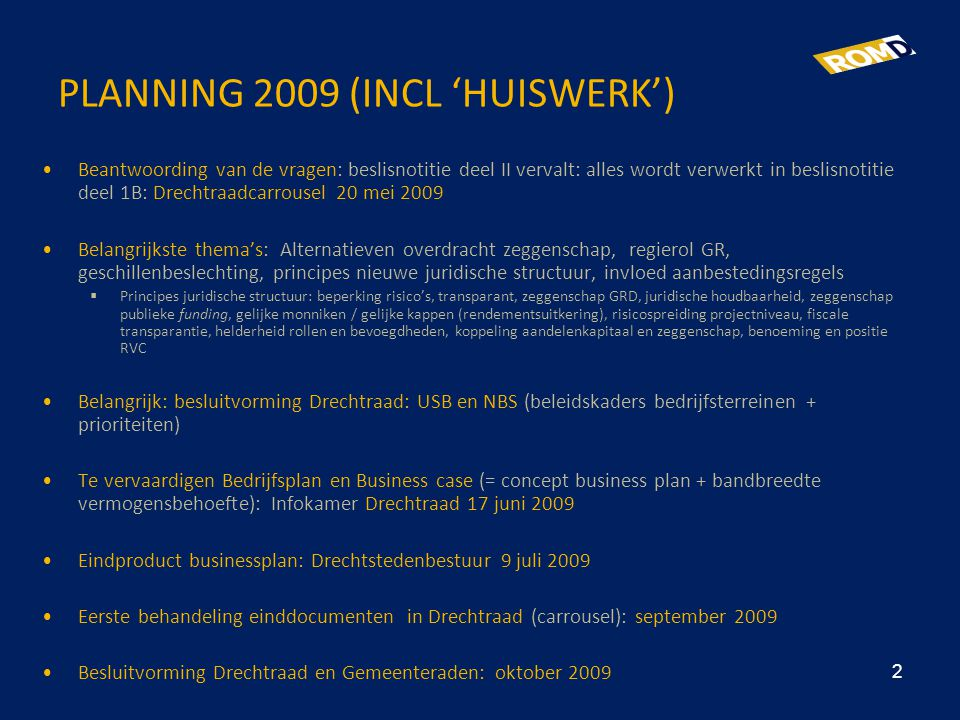 PLANNING 2009 (INCL 'HUISWERK')