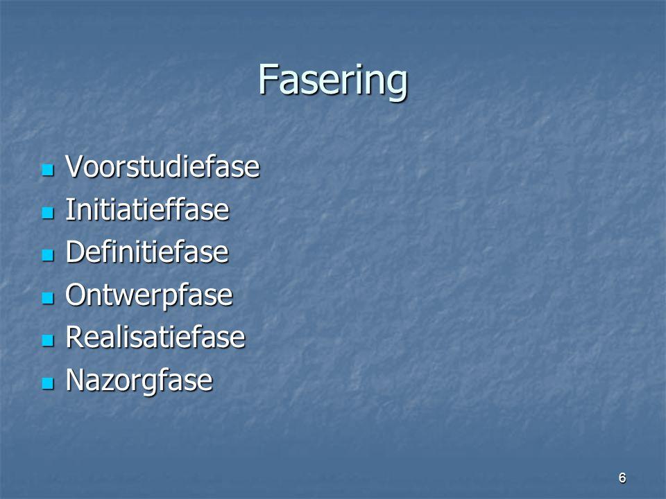 Fasering Voorstudiefase Initiatieffase Definitiefase Ontwerpfase