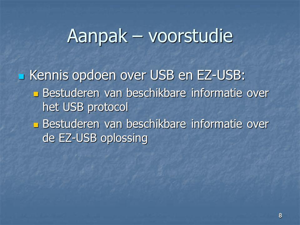 Aanpak – voorstudie Kennis opdoen over USB en EZ-USB: