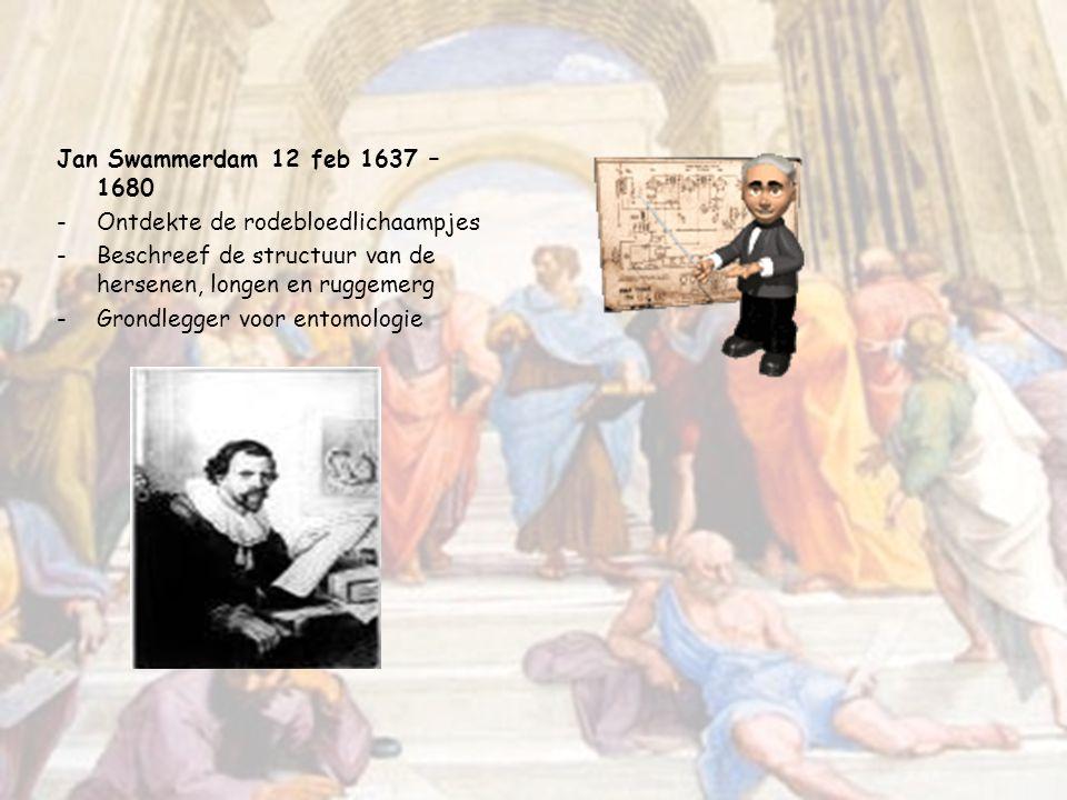 Jan Swammerdam 12 feb 1637 – 1680 Ontdekte de rodebloedlichaampjes. Beschreef de structuur van de hersenen, longen en ruggemerg.