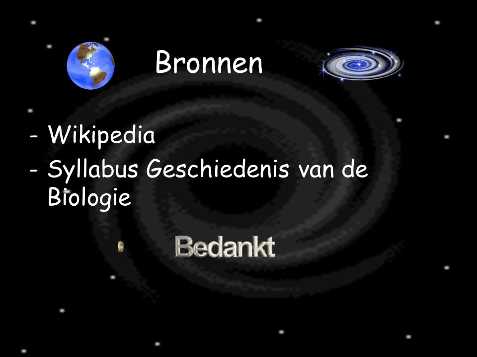 Bronnen Wikipedia Syllabus Geschiedenis van de Biologie