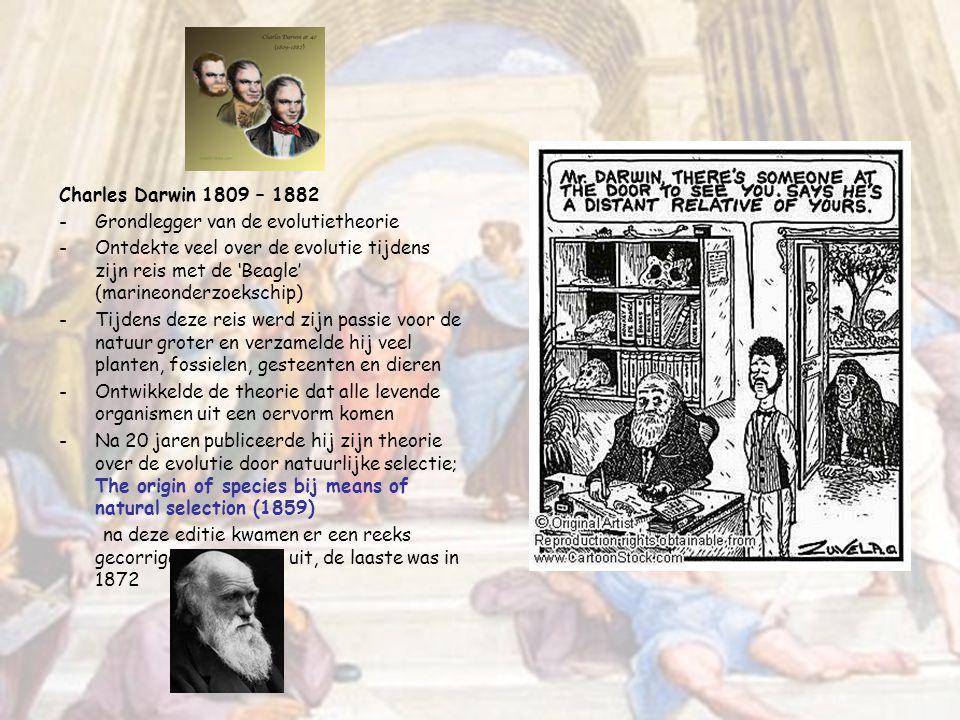 Charles Darwin 1809 – 1882 Grondlegger van de evolutietheorie.