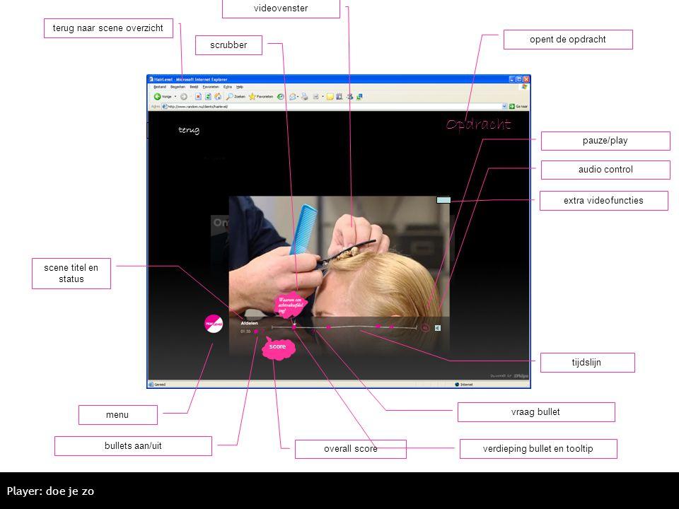 Opdracht Player: doe je zo videovenster terug naar scene overzicht