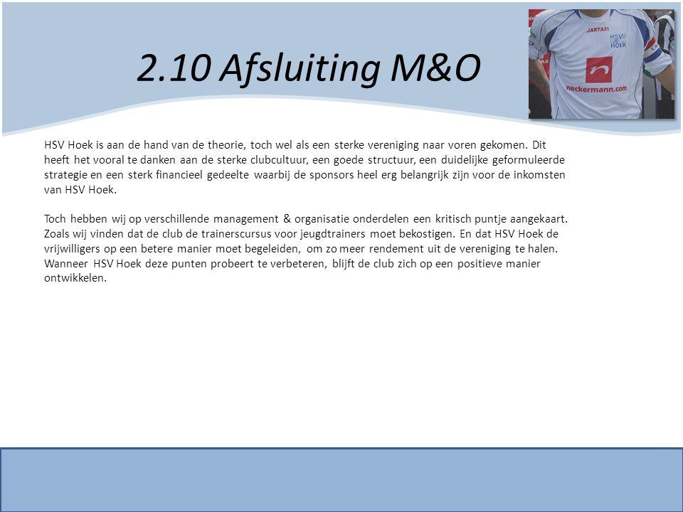 2.10 Afsluiting M&O