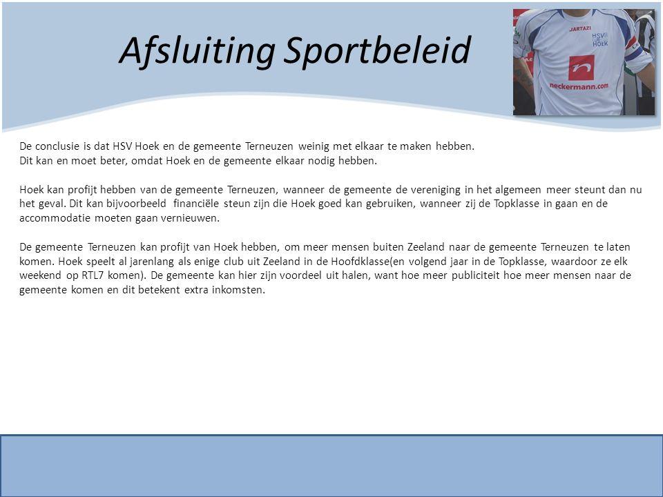 Afsluiting Sportbeleid