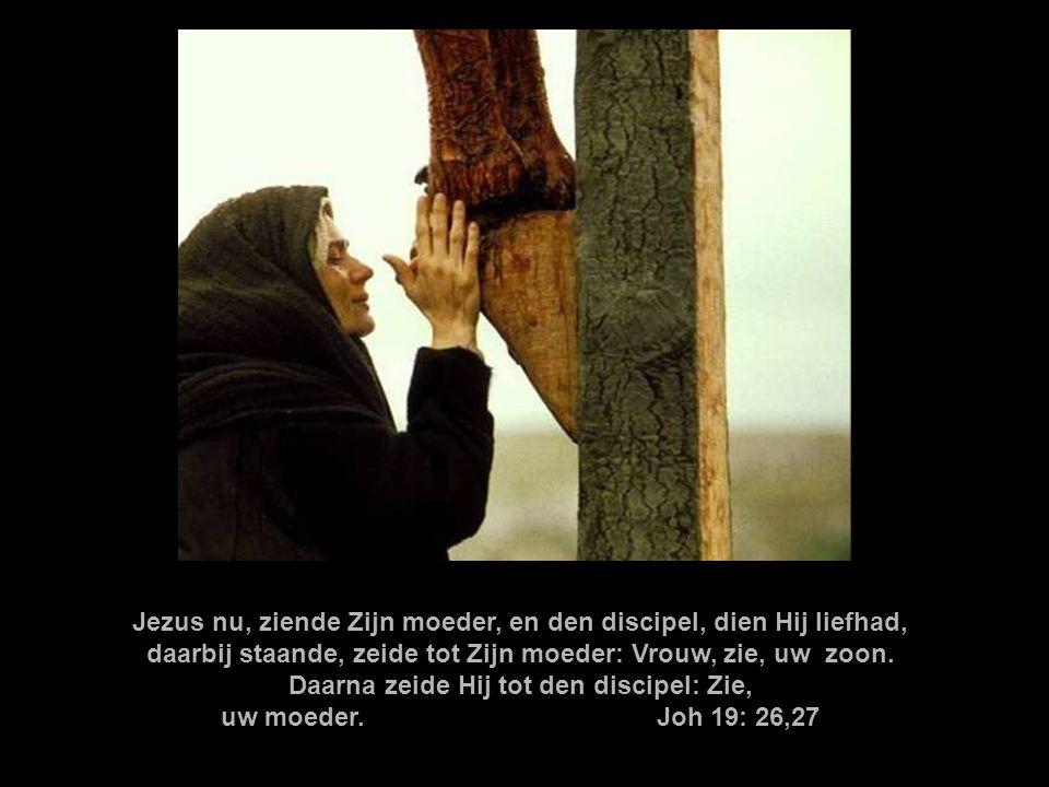 Jezus nu, ziende Zijn moeder, en den discipel, dien Hij liefhad, daarbij staande, zeide tot Zijn moeder: Vrouw, zie, uw zoon. Daarna zeide Hij tot den discipel: Zie,