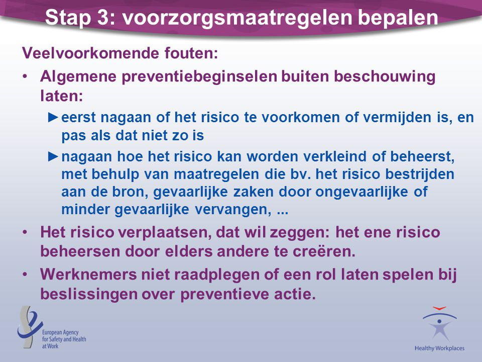 Stap 3: voorzorgsmaatregelen bepalen