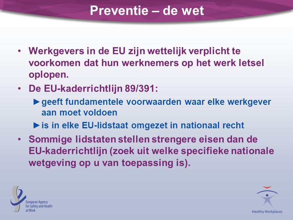 Preventie – de wet Werkgevers in de EU zijn wettelijk verplicht te voorkomen dat hun werknemers op het werk letsel oplopen.