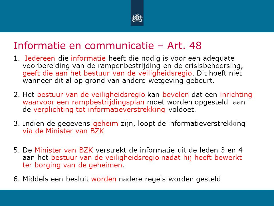 Informatie en communicatie – Art. 48
