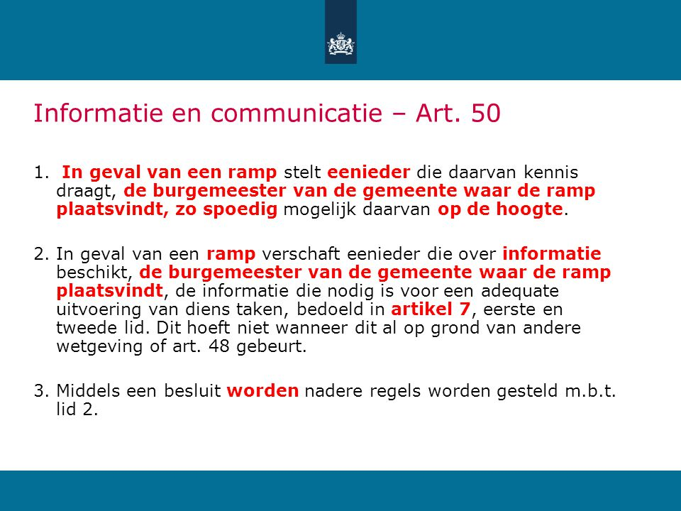 Informatie en communicatie – Art. 50