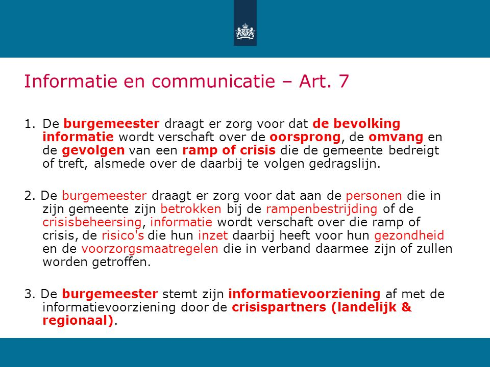 Informatie en communicatie – Art. 7