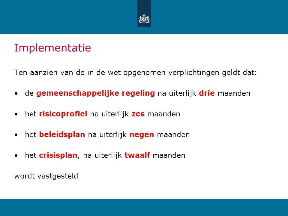 Implementatie Ten aanzien van de in de wet opgenomen verplichtingen geldt dat: de gemeenschappelijke regeling na uiterlijk drie maanden.