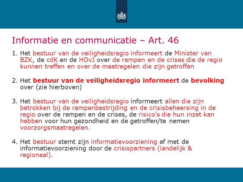 Informatie en communicatie – Art. 46