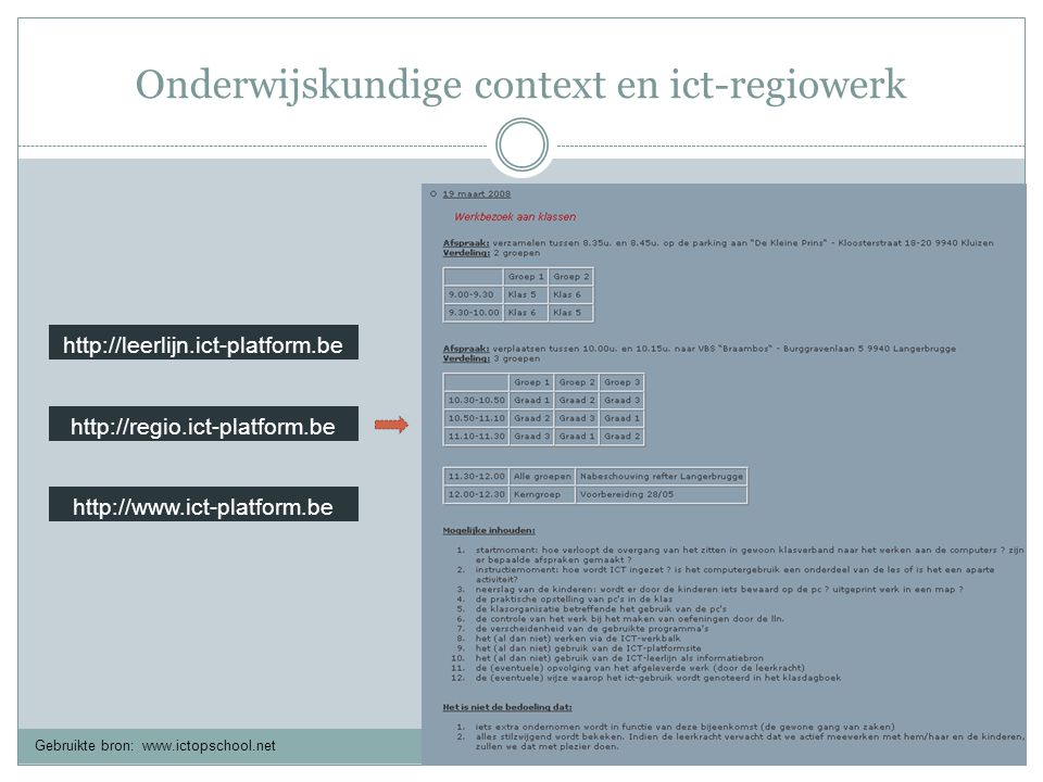 Onderwijskundige context en ict-regiowerk