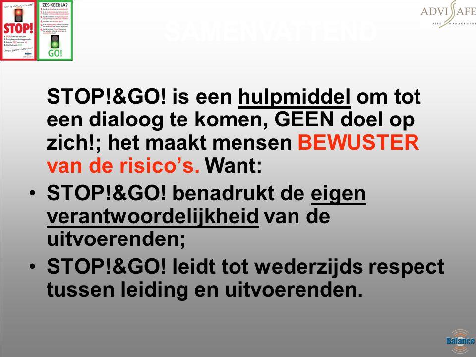 SAMENVATTEND STOP!&GO! is een hulpmiddel om tot een dialoog te komen, GEEN doel op zich!; het maakt mensen BEWUSTER van de risico's. Want: