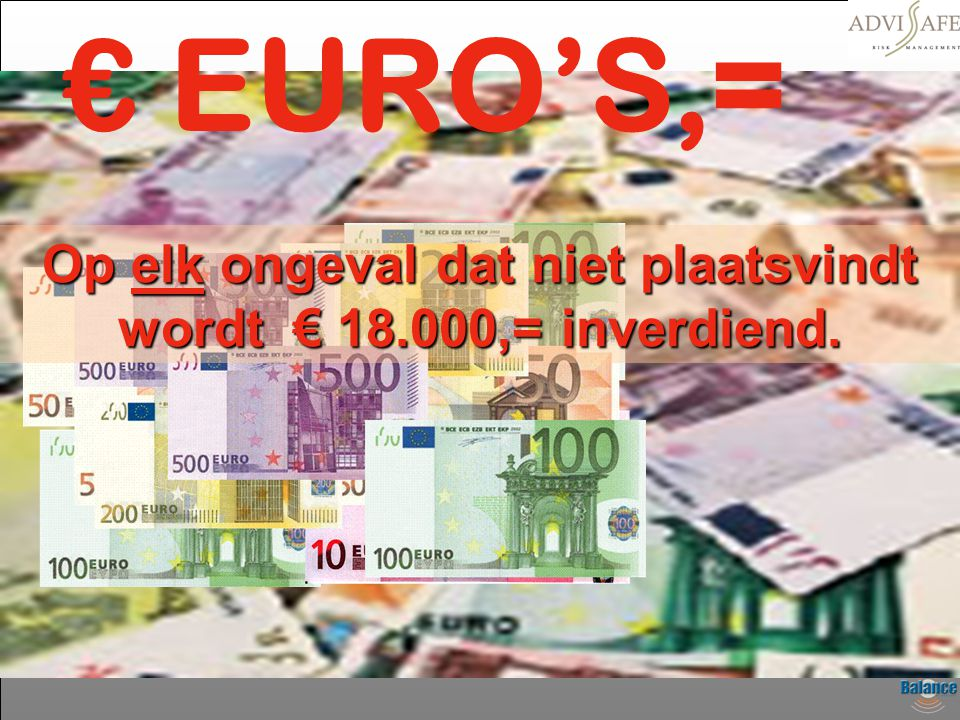 Op elk ongeval dat niet plaatsvindt wordt € 18.000,= inverdiend.