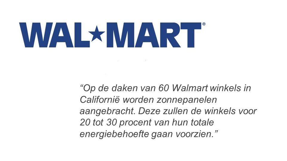 Op de daken van 60 Walmart winkels in Californië worden zonnepanelen aangebracht.