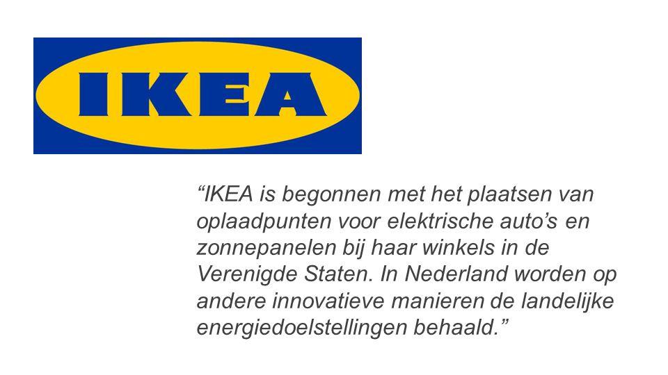 IKEA is begonnen met het plaatsen van oplaadpunten voor elektrische auto's en zonnepanelen bij haar winkels in de Verenigde Staten.