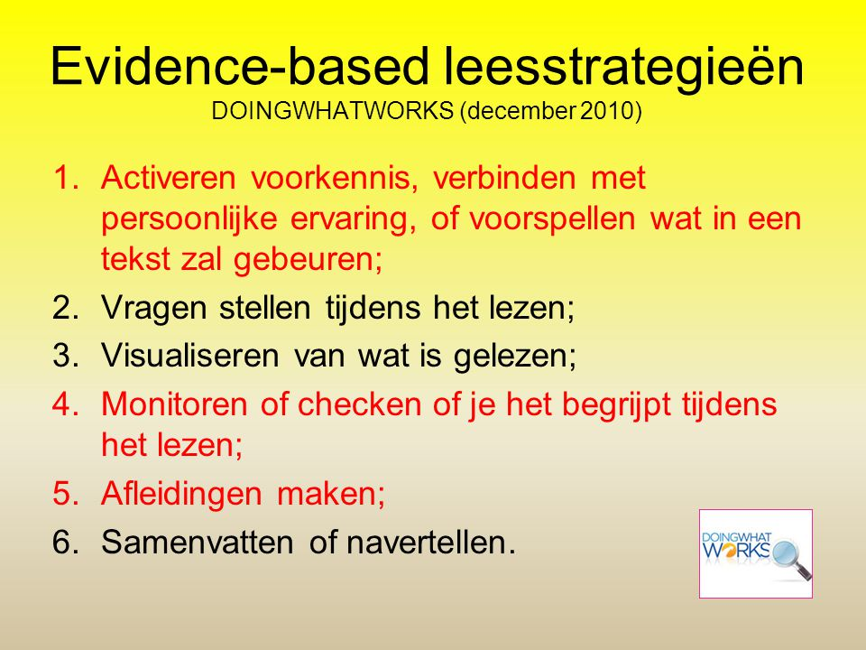 Evidence-based leesstrategieën DOINGWHATWORKS (december 2010)