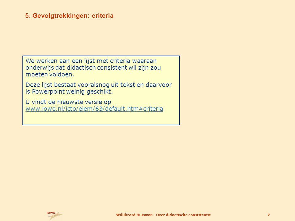 5. Gevolgtrekkingen: criteria