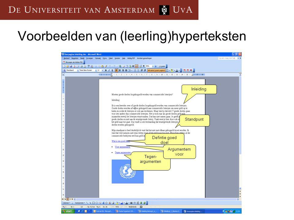 Voorbeelden van (leerling)hyperteksten