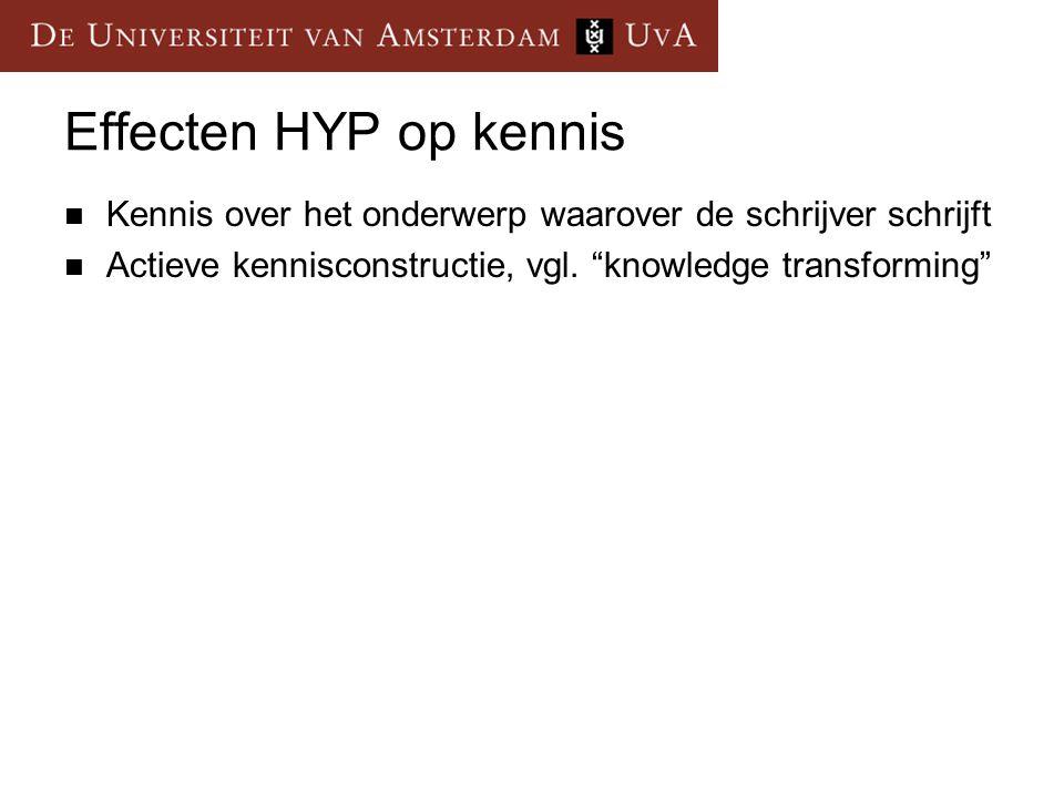 Effecten HYP op kennis Kennis over het onderwerp waarover de schrijver schrijft.