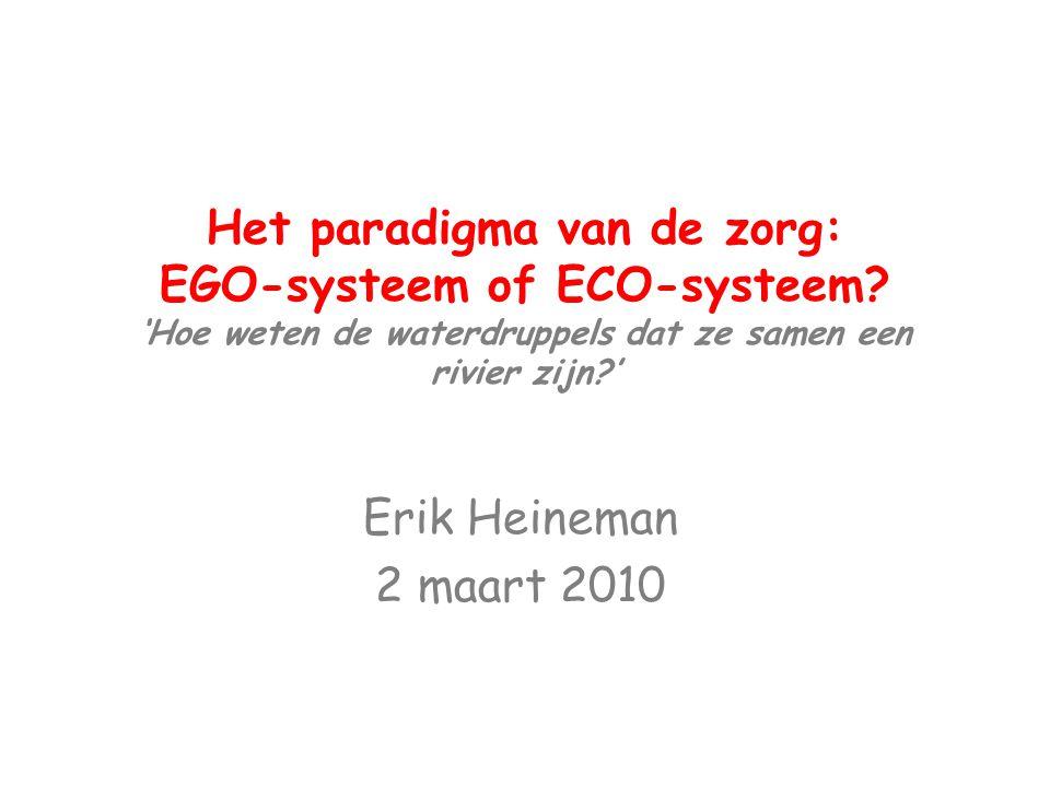 Het paradigma van de zorg: EGO-systeem of ECO-systeem