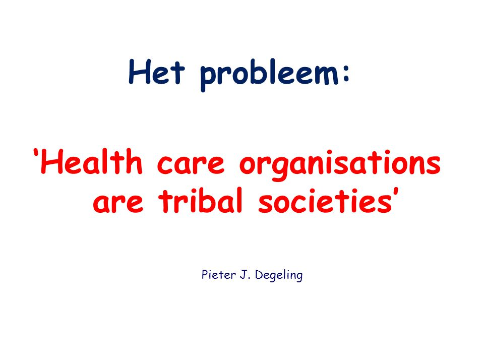 'Health care organisations are tribal societies'
