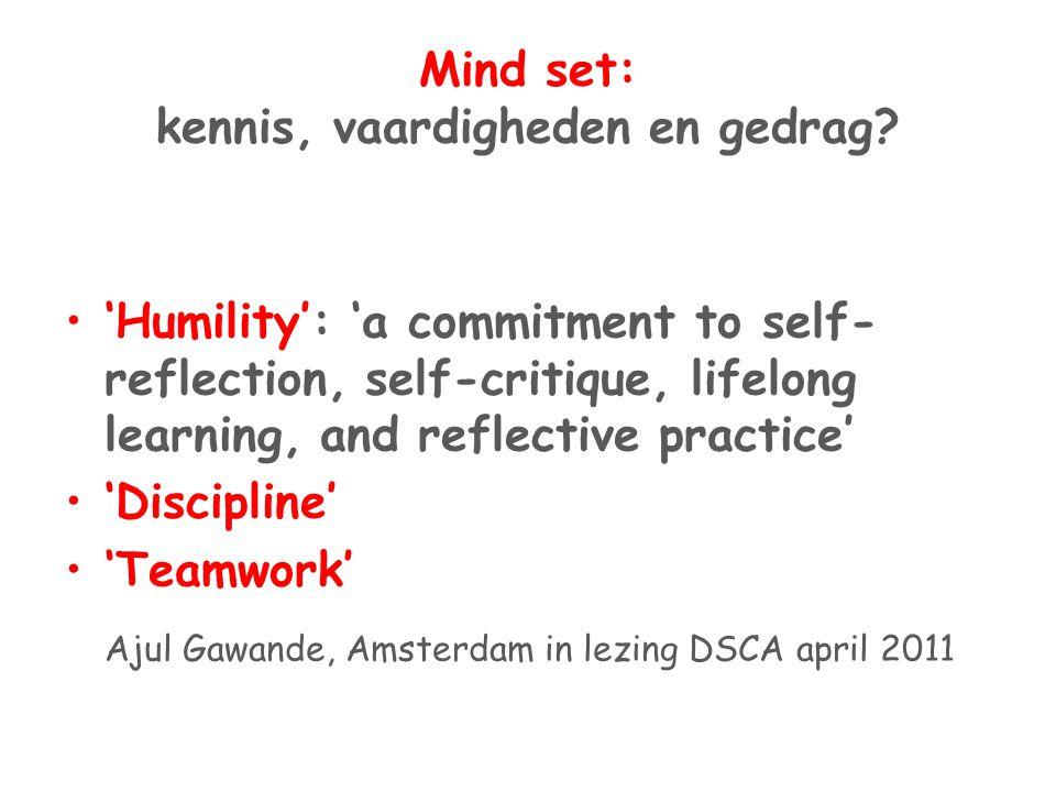 Mind set: kennis, vaardigheden en gedrag
