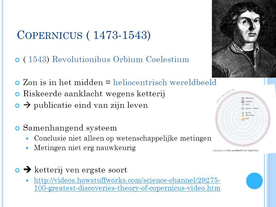 Copernicus ( 1473-1543) ( 1543) Revolutionibus Orbium Coelestium