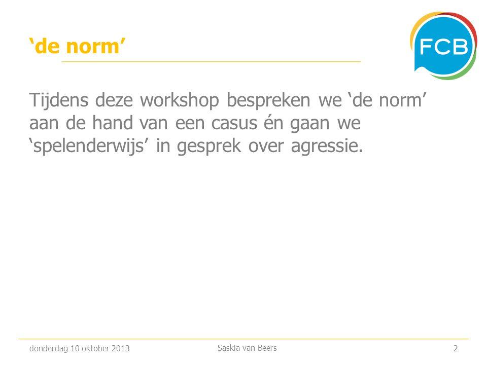 'de norm' Tijdens deze workshop bespreken we 'de norm' aan de hand van een casus én gaan we 'spelenderwijs' in gesprek over agressie.