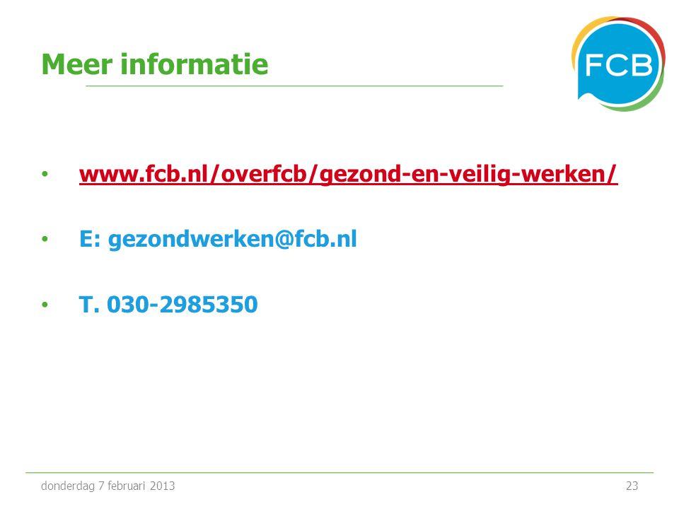 Meer informatie www.fcb.nl/overfcb/gezond-en-veilig-werken/