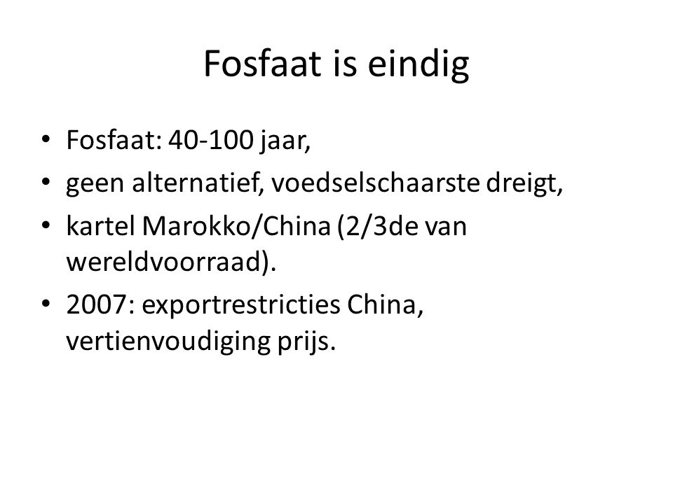 Fosfaat is eindig Fosfaat: jaar,